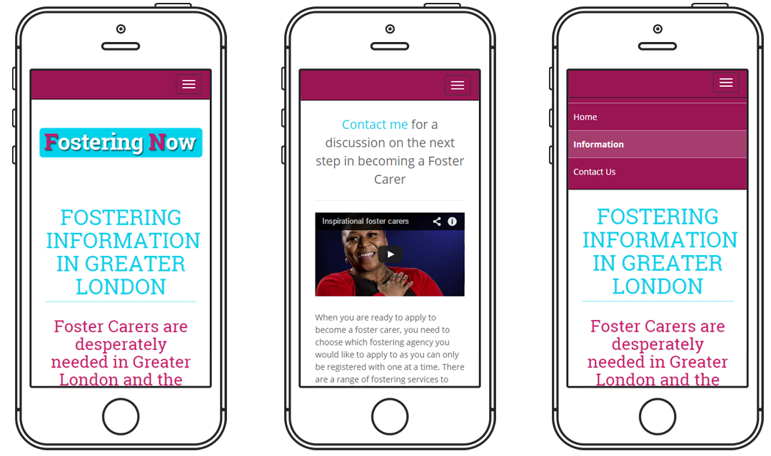 Mobile optimised images for Fostering Now website