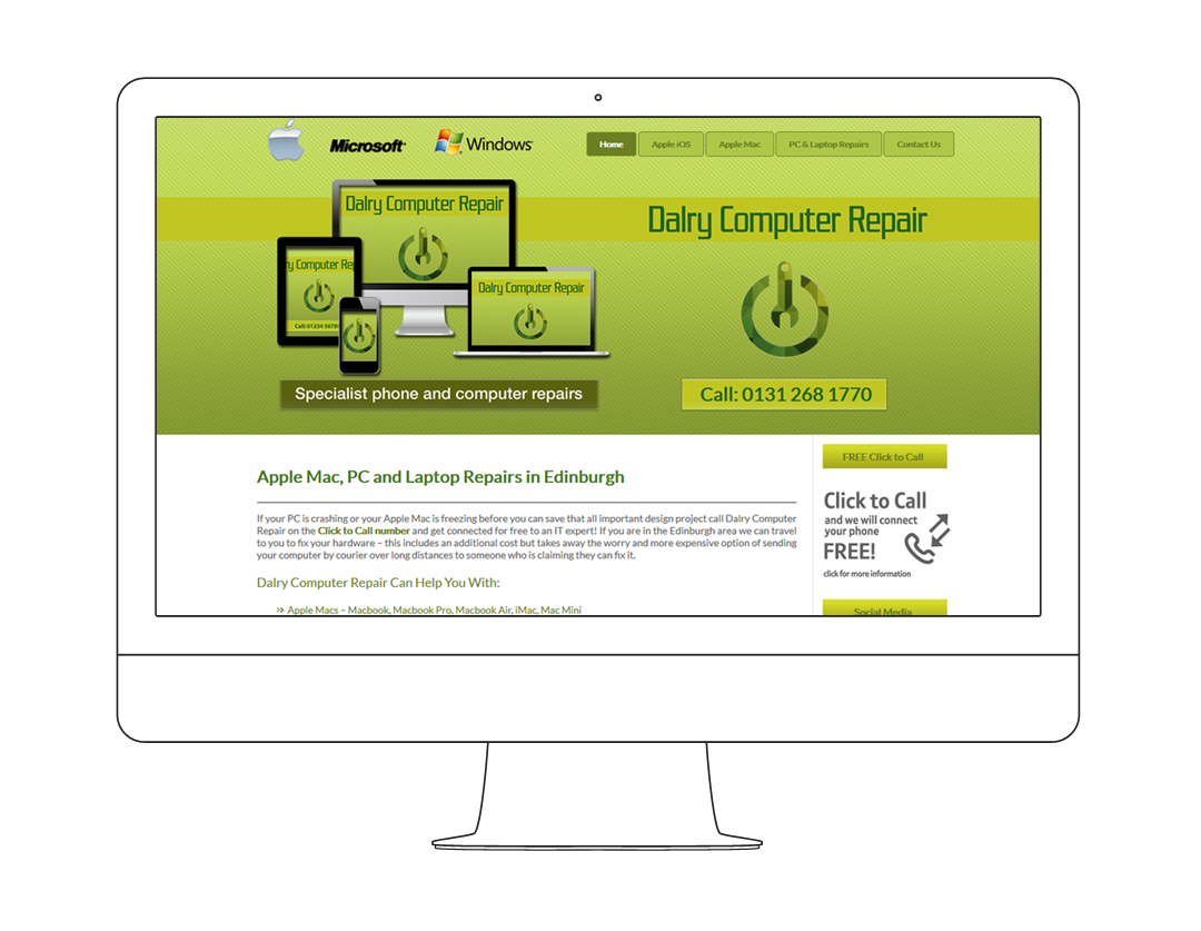 Website display showing Dalry Computer Repair home page